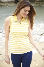 TOGGI  MAGDELENA YELLOW STRIPE  SLEEVELESS POLO SHIRT- RRP £37.50